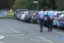 Polizia municipale al parcheggio Berlinguer