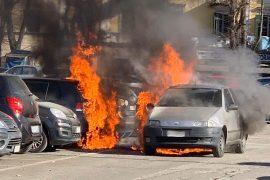 Auto a fuoco ad Alessandria 2 febbraio 2019