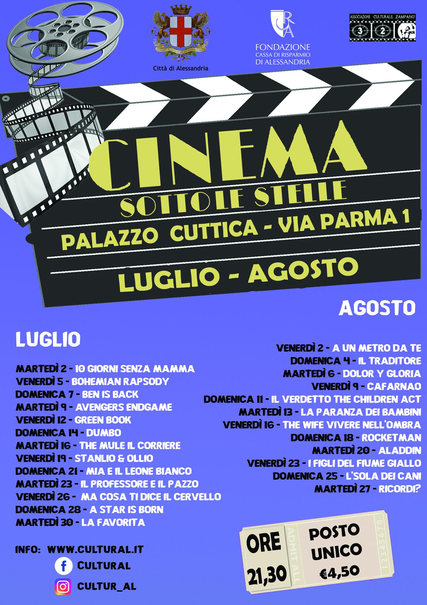 Locandina Cinema sotto le stelle Alessandria-estate 2019