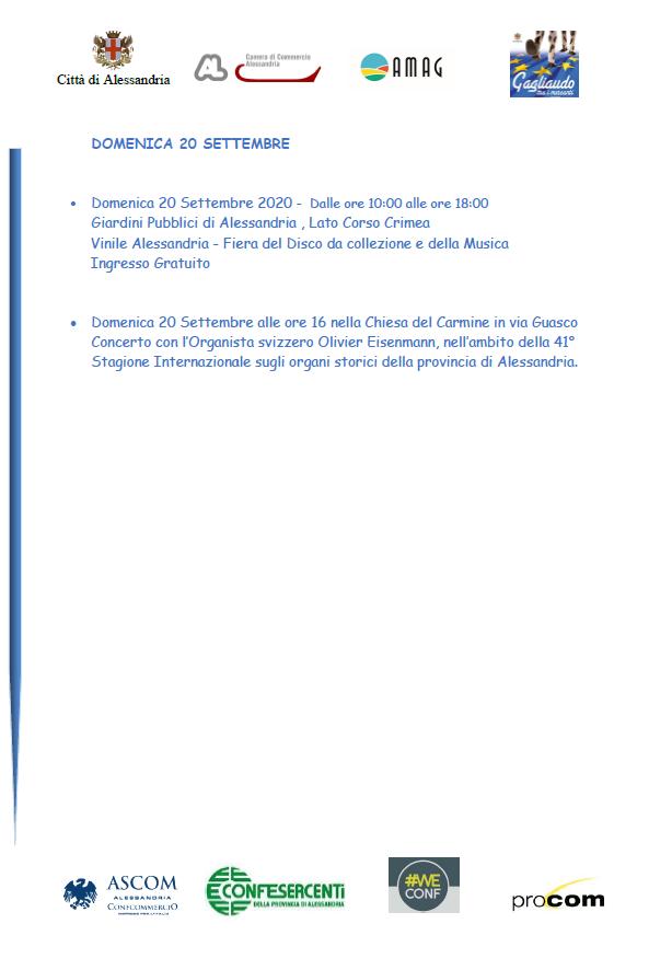 Programma Gagliaudo Alessandria 2020