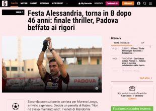 Alessandria Calcio in serie B: l'impresa dei Grigi sui siti nazionali