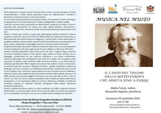 """Il 19 settembre alla Gambarina """"Il canto del violino nella Mitteleuropa che arriva fino a Parigi"""""""