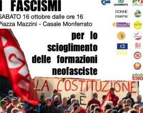 """Sabato a Casale sindacati, partiti e associazioni scendono in piazza """"contro i fascismi"""""""