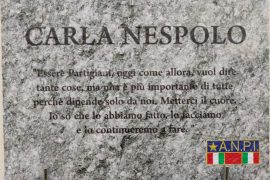 Una targa ricorda Carla Nespolo e l'immortalità dei Partigiani